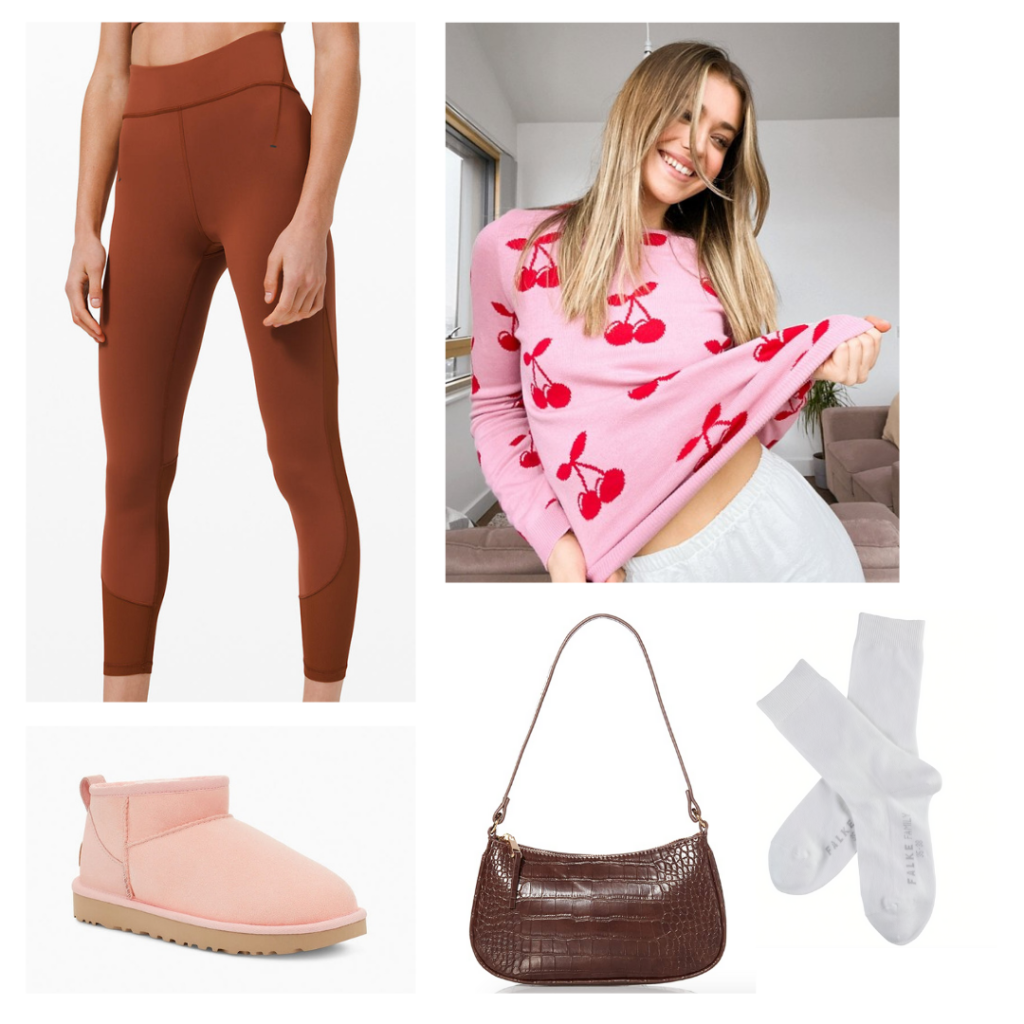 Athleisure outfit with Uggs: Rust colored leggings, cherry print sweater, pale pink uggs, white socks, chocolate brown mini purse