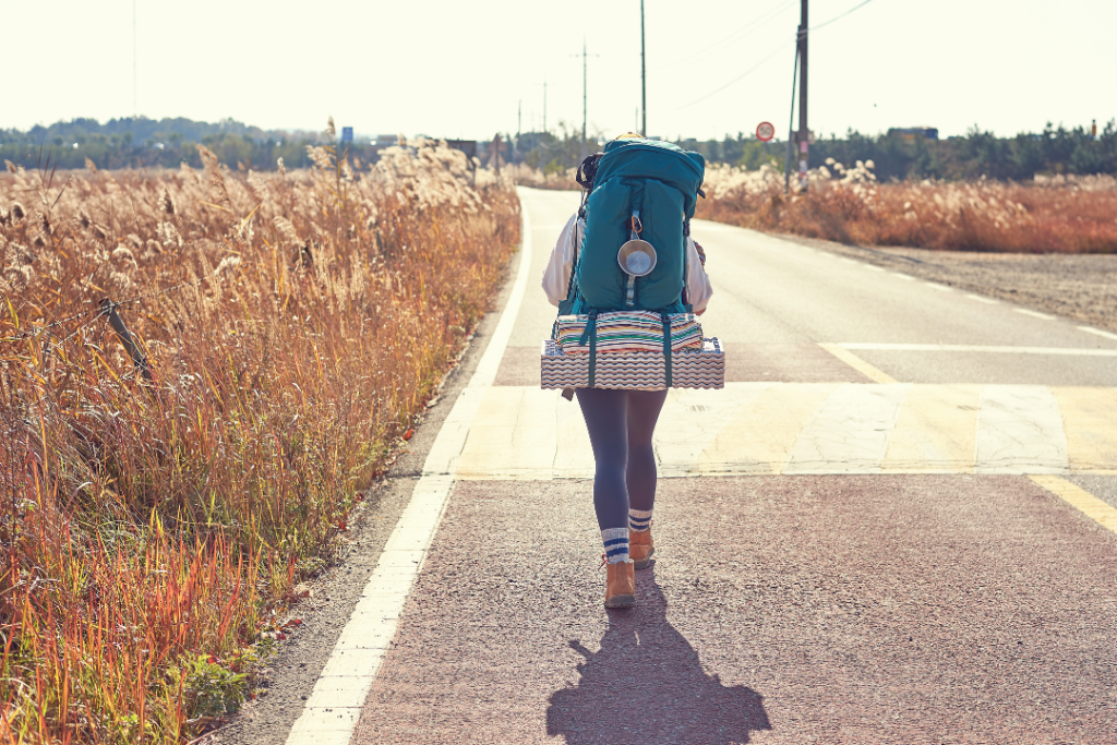 Woman going backpacking