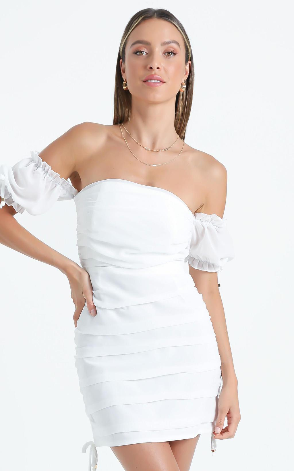 White off-the-shoulder dress from Showpo
