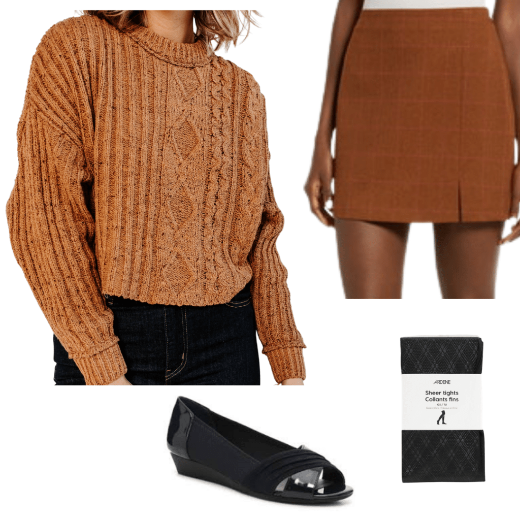 Dark Academia outfit with cable-knit sweater, pumps, tights and mini-skirt.