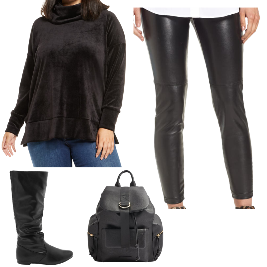 Dark Academia all black outfit with boots, blouse, leggings and back pack.