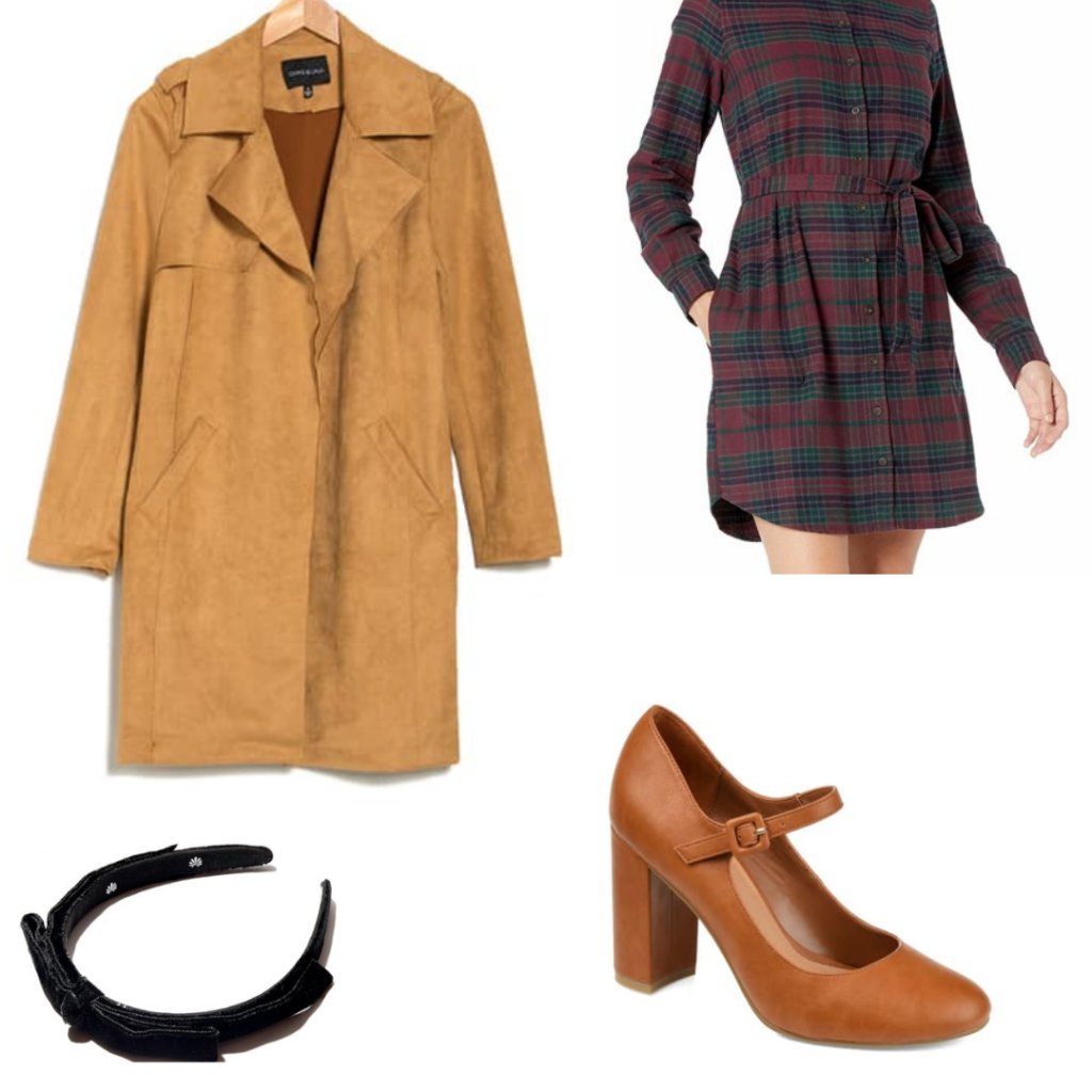Dark Academia outfit with high heels, headband, trench coat and dress.