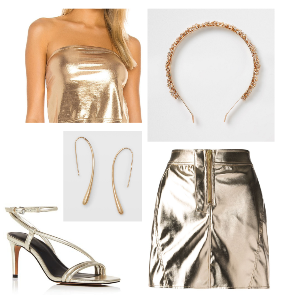 Ariana Grande god is a woman outfit - gold tube top and skirt, gold sandals, gold jewelry