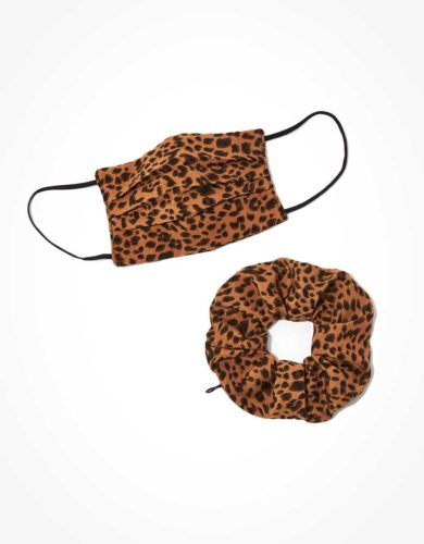 AE Leopard Face Mask and Scrunchie Set