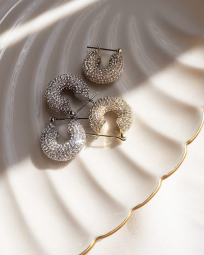 Express x Luv AJ Pave Mini Donut Hoop Earrings