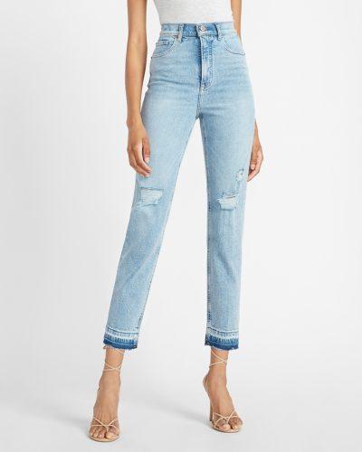 Express Super High Waist Ripped Release Hem Straight Jeans