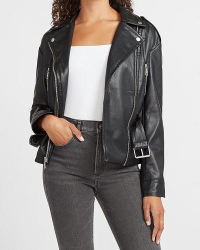 Express Vegan Leather Belted Drop Shoulder Jacket