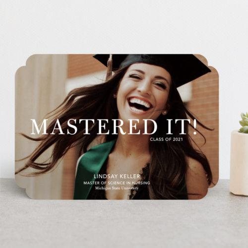 Mastered It graduation announcement