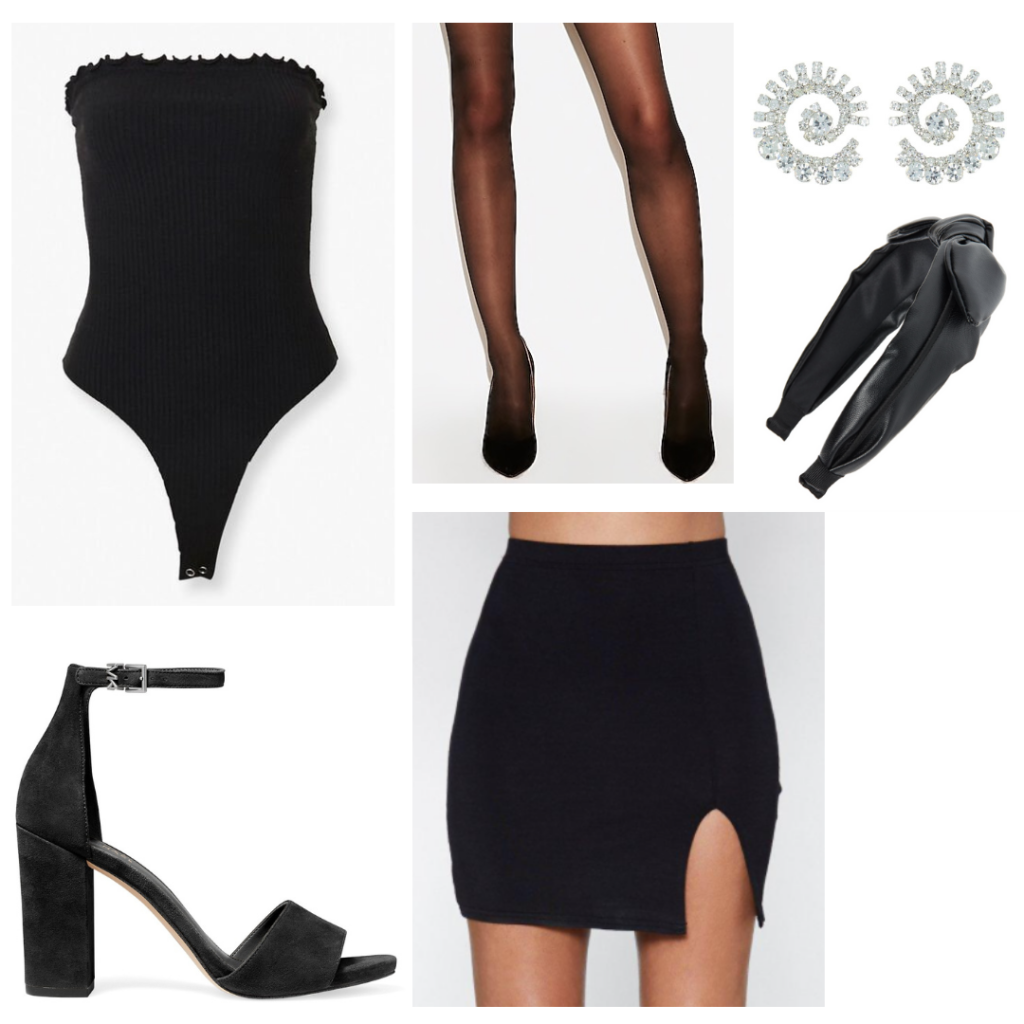 Ariana Grande positions music video outfit: Black mini skirt, bodysuit, tights, wrap headband, strappy heels, diamond earrings