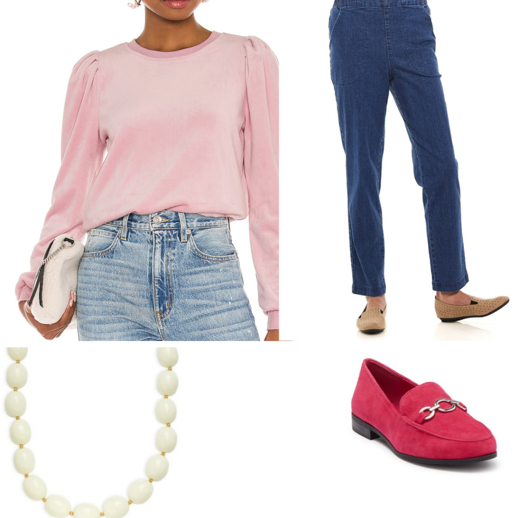 Jeans and sweater outfit set.