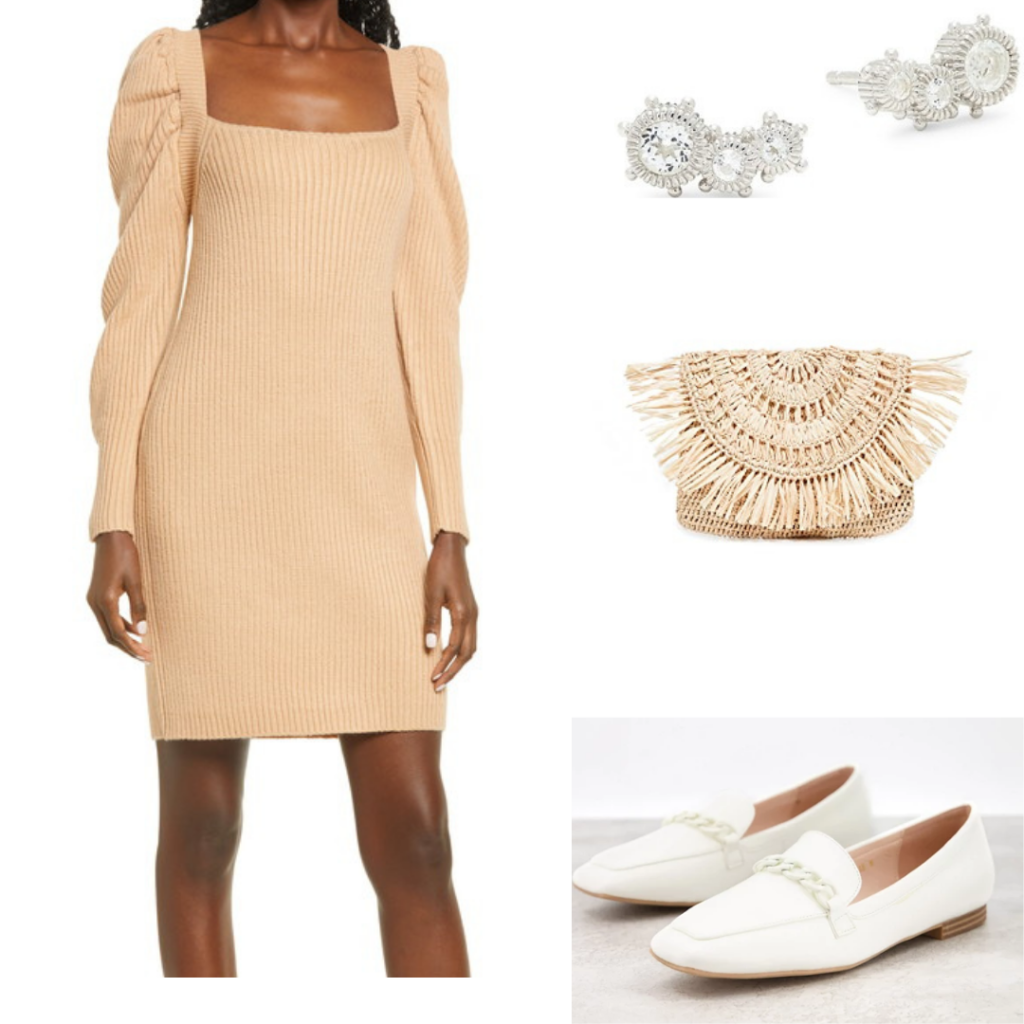 Long-sleeved dress outfit set.