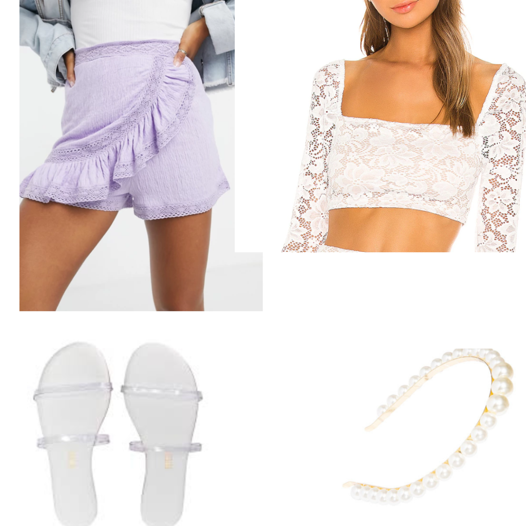 Romantic academia outfit ideas: Shorts and blouse outfit set.