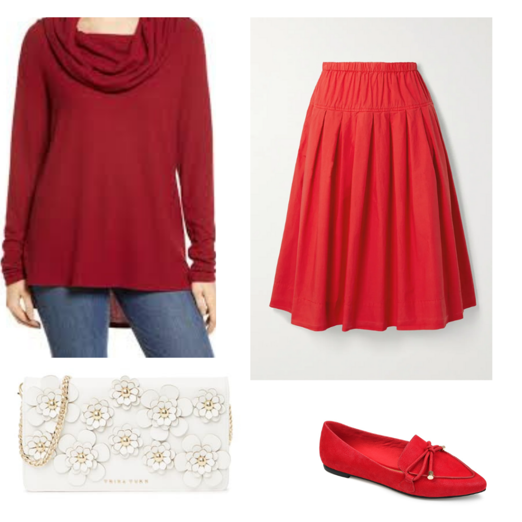 Romantic academia outfit with red skirt and sweater, red loafers