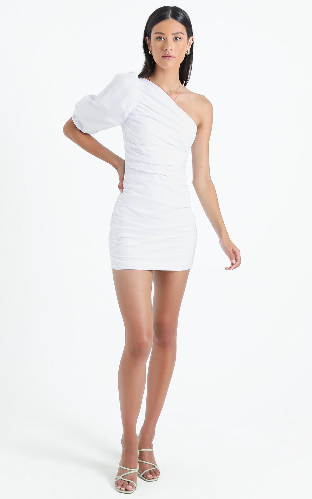 White one-shoulder dress from Showpo
