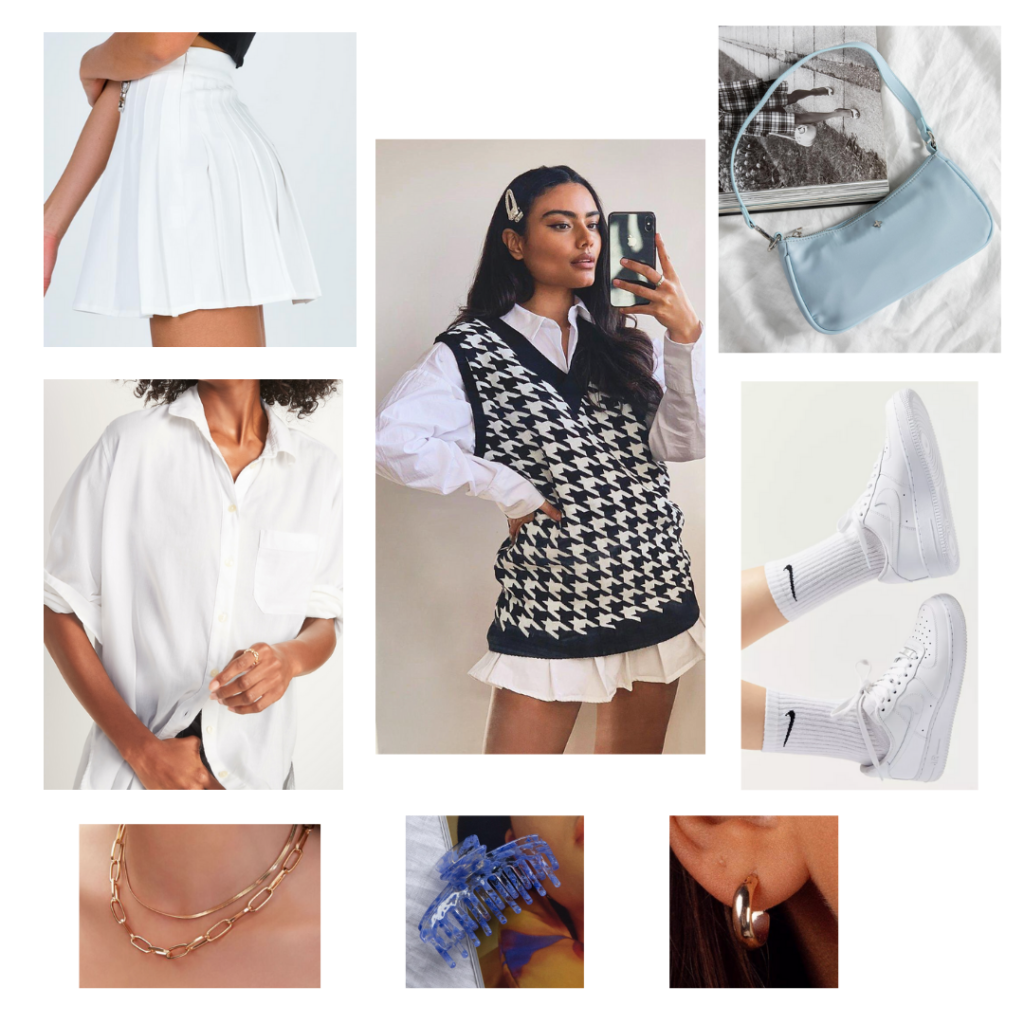 Sweater Vest Outfit Guide: black and white houndstooth sweater vest, white tennis skirt, white button-up blouse, white sneakers, baby blue shoulder bag purse