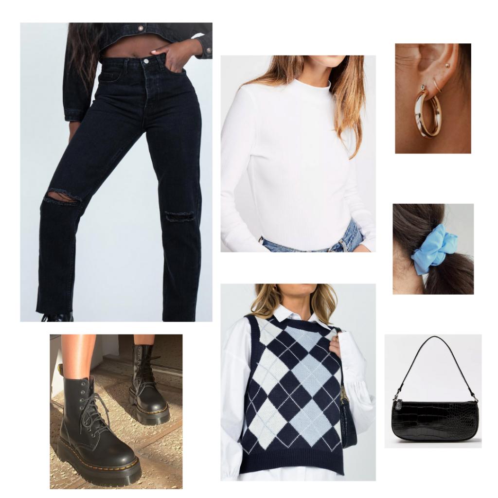 Sweater Vest Outfit 2 - argyle sweater vest, white long-sleeve tee, black high-waisted denim, black booties, blue scrunchie, black handbag