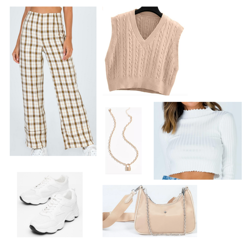 Sweater Vest Outfit 3: cropped cream sweater vest, tan plaid trousers, white cropped long sleeve, white sneakers, blush shoulder bag, gold jewelry
