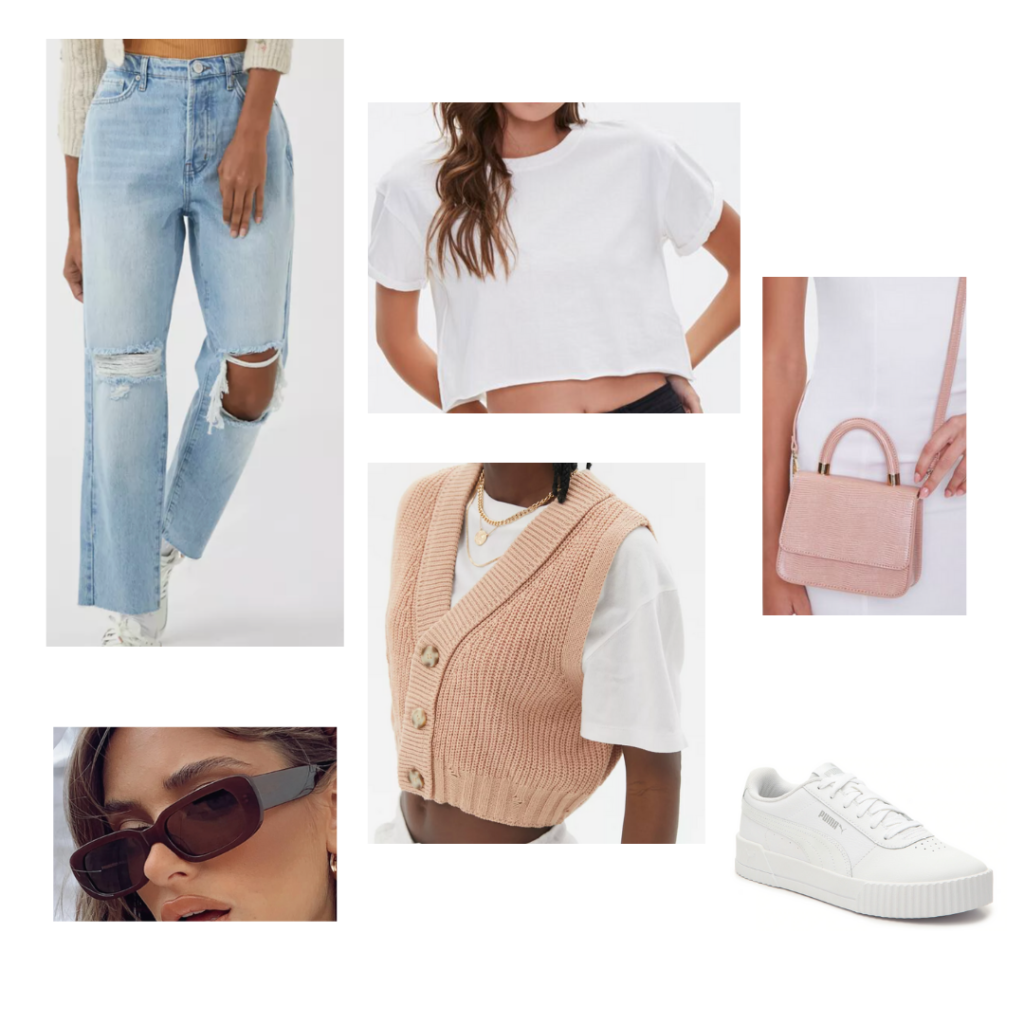 Sweater Vest Outfit 4: Blush button-up sweater vest, white cropped tee, distressed boyfriend denim jeans, small pink crossbody bag, white sneakers