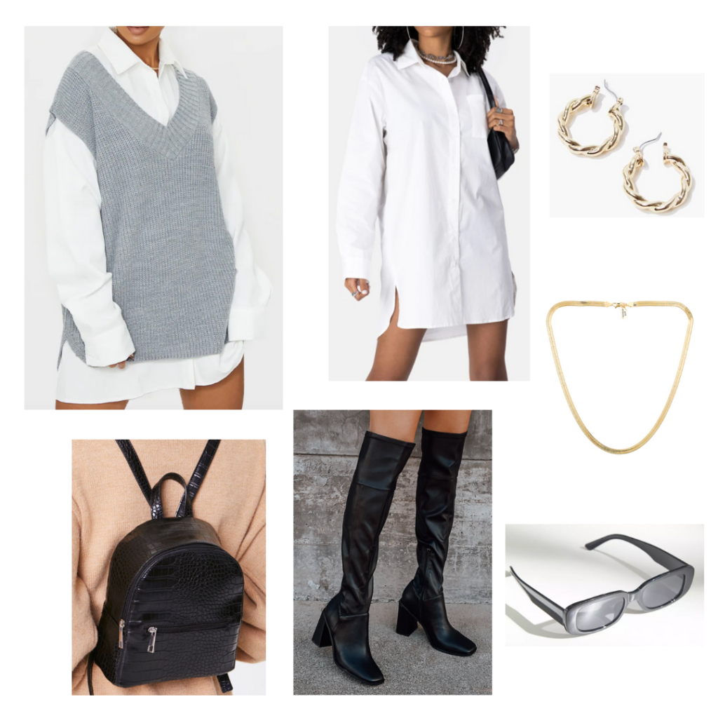 Sweater Vest Outfit 5: grey oversized sweater vest, white oversized button-up shirt, over-the-knee black boots, black backpack, gold jewelry