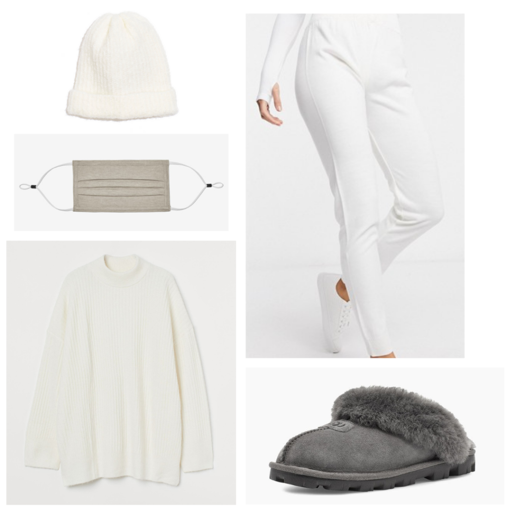 Uggs in 2021: Lazy day outfit with white pants, cream sweater, cream beanie hat, ugg slippers