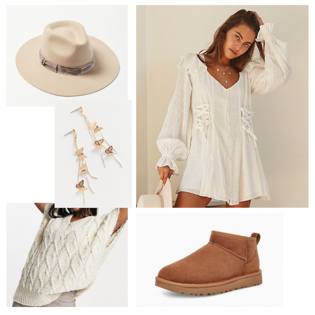Boho chic uggs outfit with dress, sweater vest, short uggs, butterfly earrings, cream fedora hat