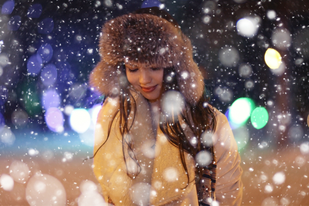 Woman on a winter night