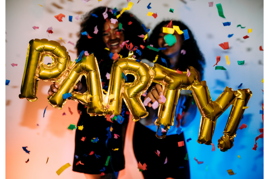 21st birthday party decorations, gold party balloons and confetti