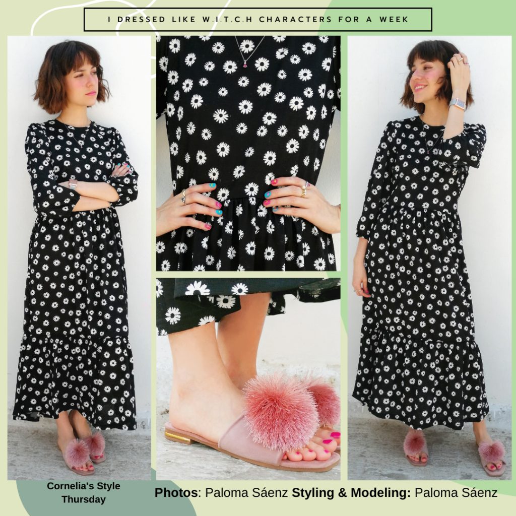 Outfit inspired by Cornelia from WITCH: Black maxi dress, fluffy sandals