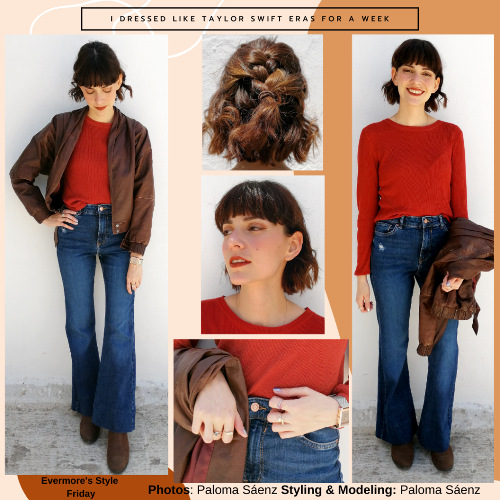 Outfit inspired by Taylor Swift's evermore with flared jeans, red long-sleeve shirt, brown jacket