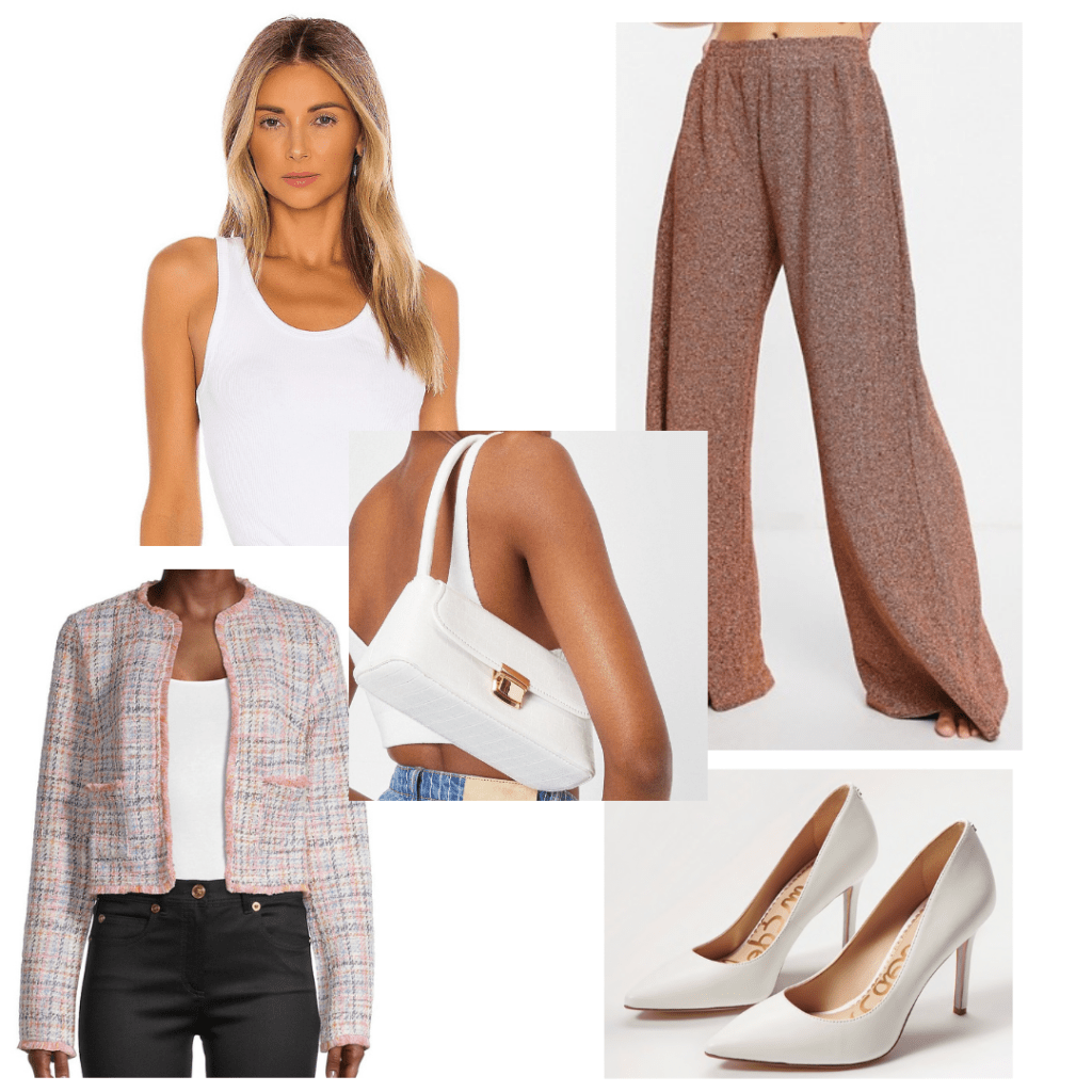 Ginny and Georgia fashion: Outfit inspired by Georgia's work outfit with tweed jacket, white pumps, wide leg jeans, mini purse, white tank