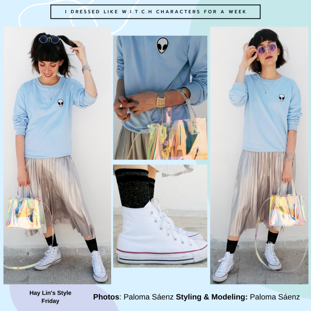 Outfit inspired by Hay Lin from WITCH: Silver skirt, pale blue crew neck sweatshirt, high top Converse, clear purse