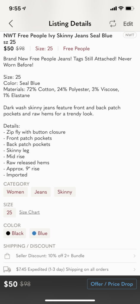 How to sell clothes on Poshmark - listing detail screenshot