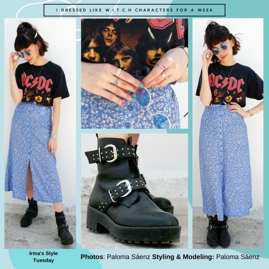 Outfit inspired by Irma's style from W.I.T.C.H.: Floral midi skirt, buckle boots, ACDC tee shirt, sunglasses