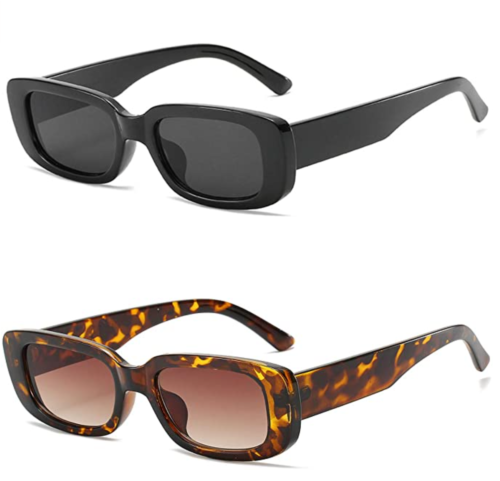 Beach vacation must haves: Retro rectangle sunglasses from Amazon