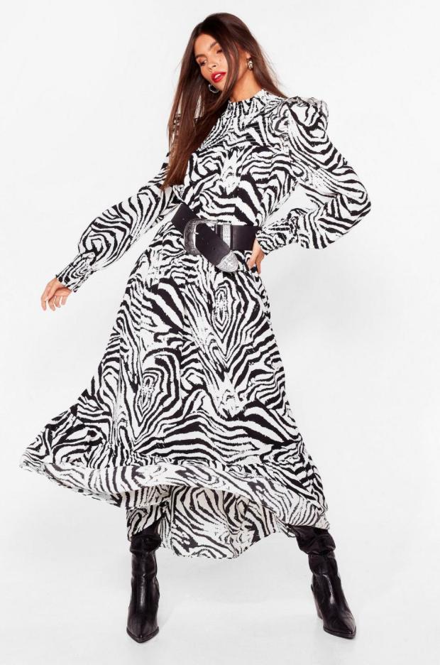 Zebra print dress from Nasty Gal