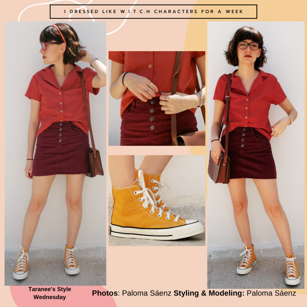 Outfit inspired by Taranee's style from WITCH with burgundy button-front skirt, red button-front t-shirt, yellow Converse high tops, glasses, headband, satchel bag