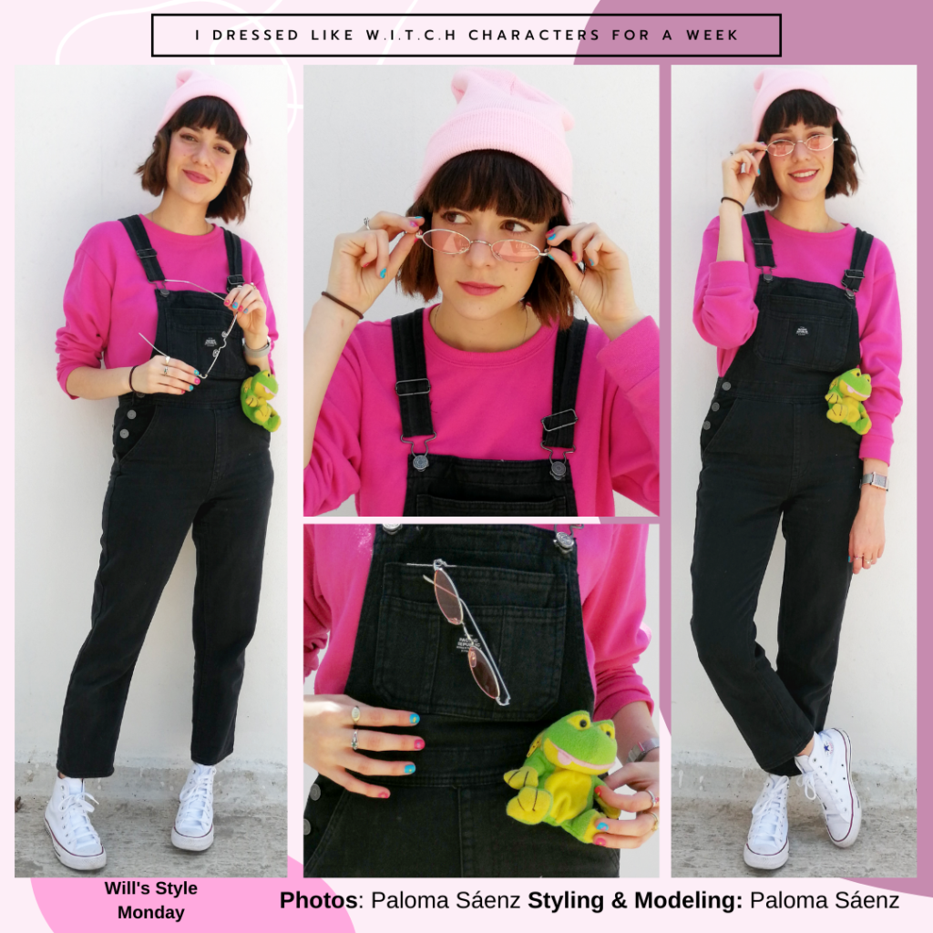 Outfit inspired by Will Vandom's style from WITCH: Black overalls, white high top Converse sneakers, pink sunglasses, pink sweater, frog plush