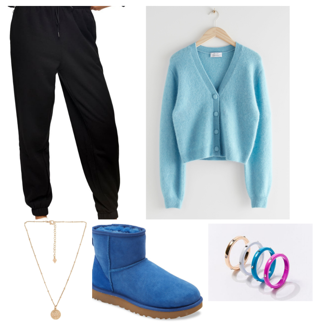 Outfit inspired by Dua Lipa's style with black joggers, blue uggs, enamel rings, and fuzzy cropped cardigan