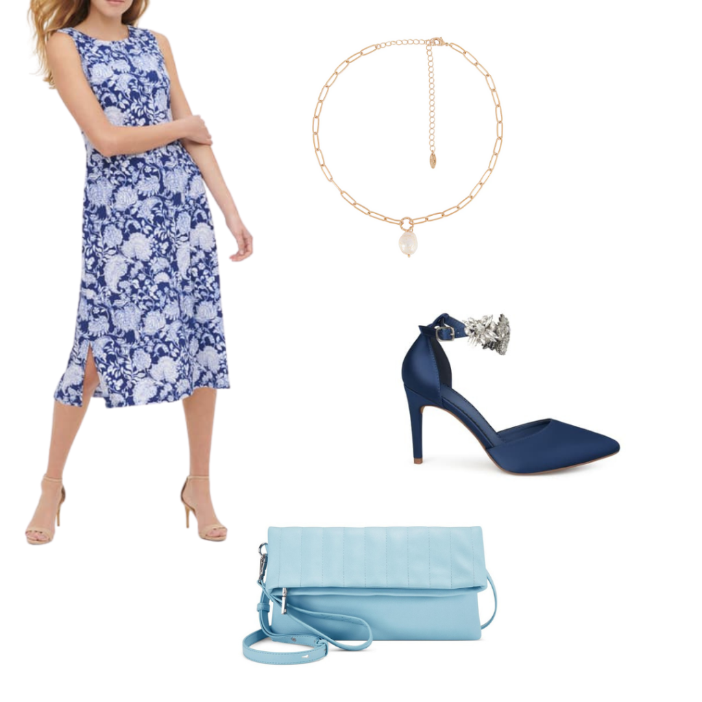 YA book outfits: The Selection outfit with dress, heels, necklace and clutch.