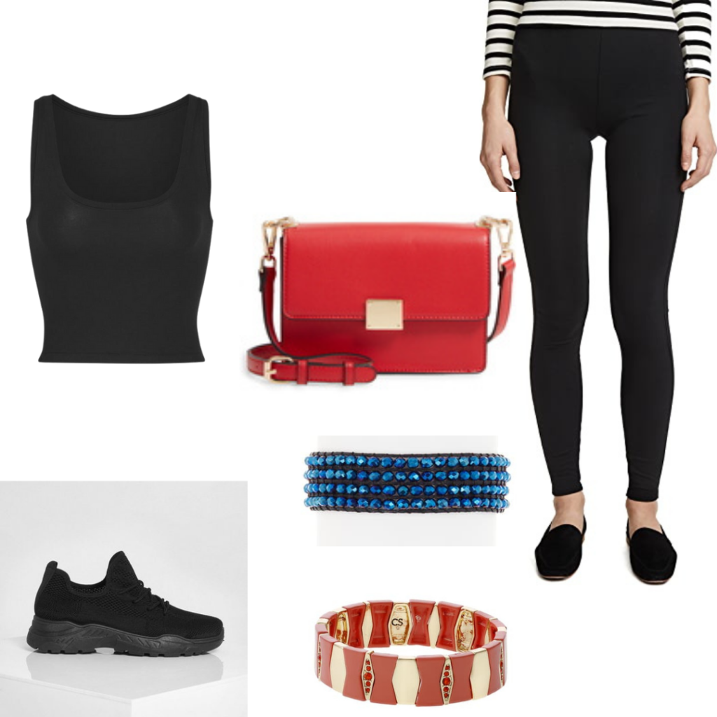 YA book outfits: Legendborn outfit with leggings, vest, handbag, bracelet and sneakers.