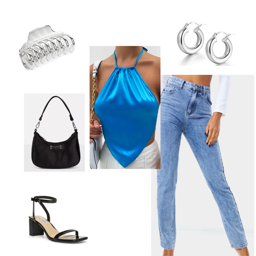Cute date night outfit #1: Mom jeans, halter neck crop top, mini shoulder bag, claw clip, hoop earrings