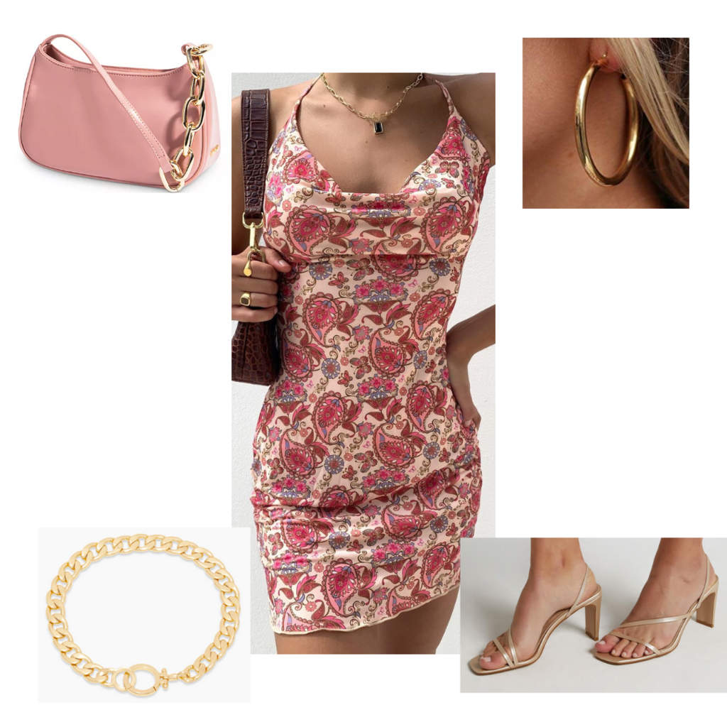 Date night outfit #2: Cute date night look with floral paisley dress, strappy heels, chunky chain necklace, earrings, mini bag