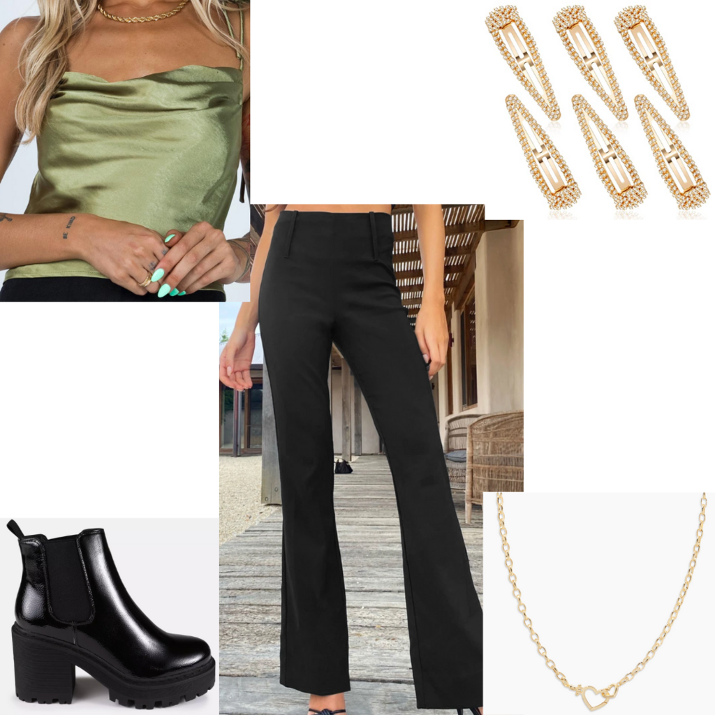 Casual and cute date night outfit with black flared pants, satin cami top, hair clips, chunky boots, mini chain necklace