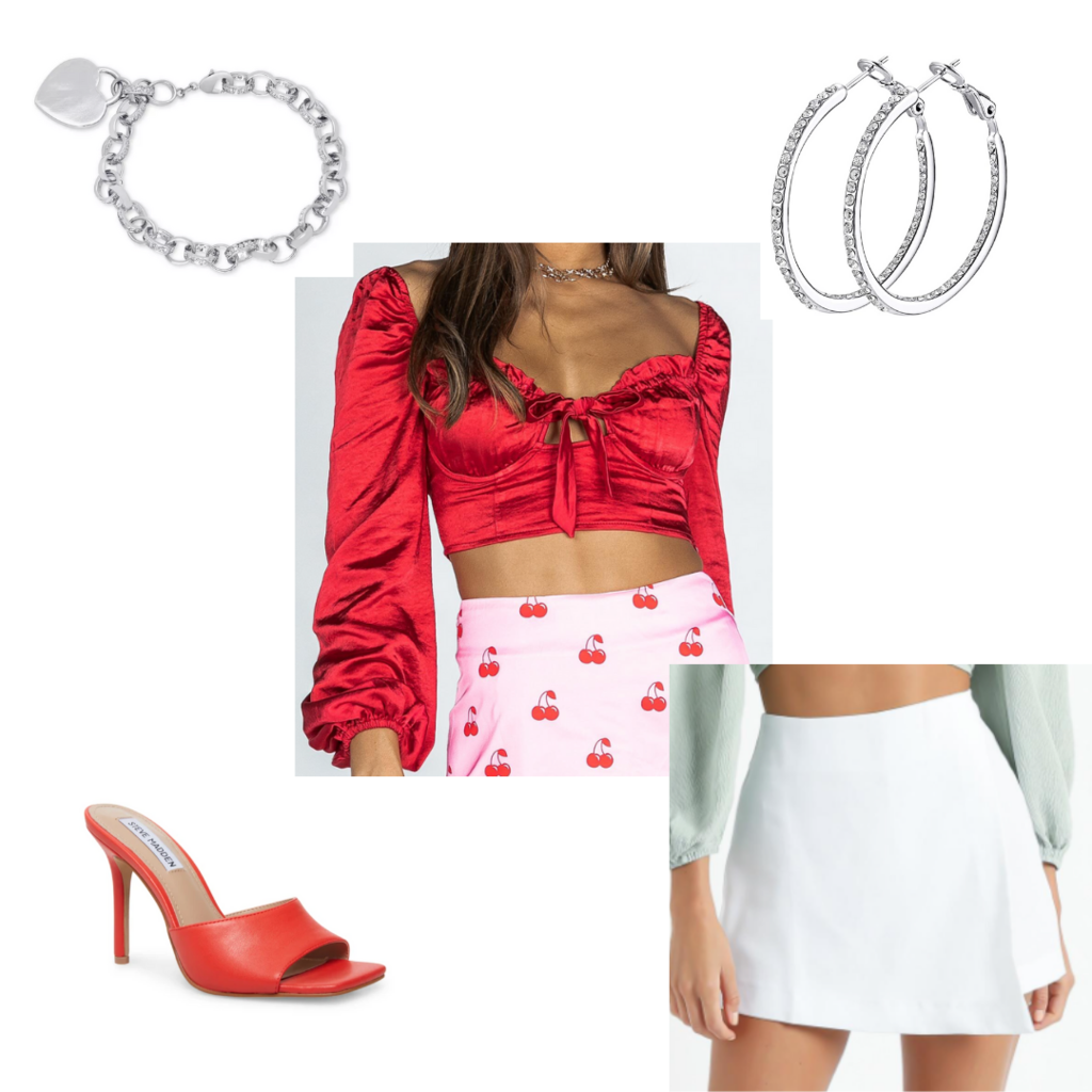 Cute date night outfit #4 with white wrap skirt, red slide heels, red satin crop top, chunky bracelet, embellished hoop earrings