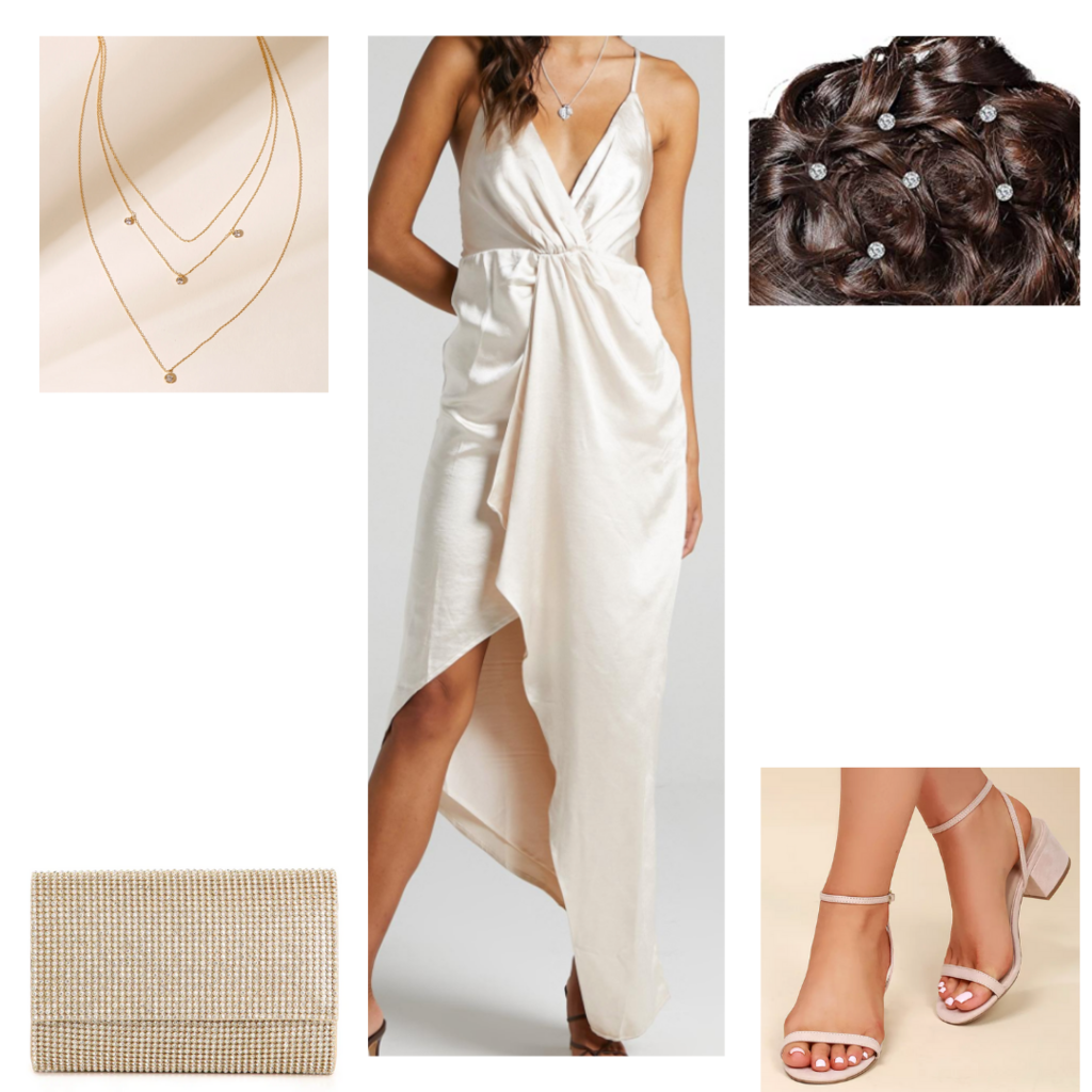 Date night outfit with white satin maxi dress, layered necklaces, strappy heels, clutch, hair jewels