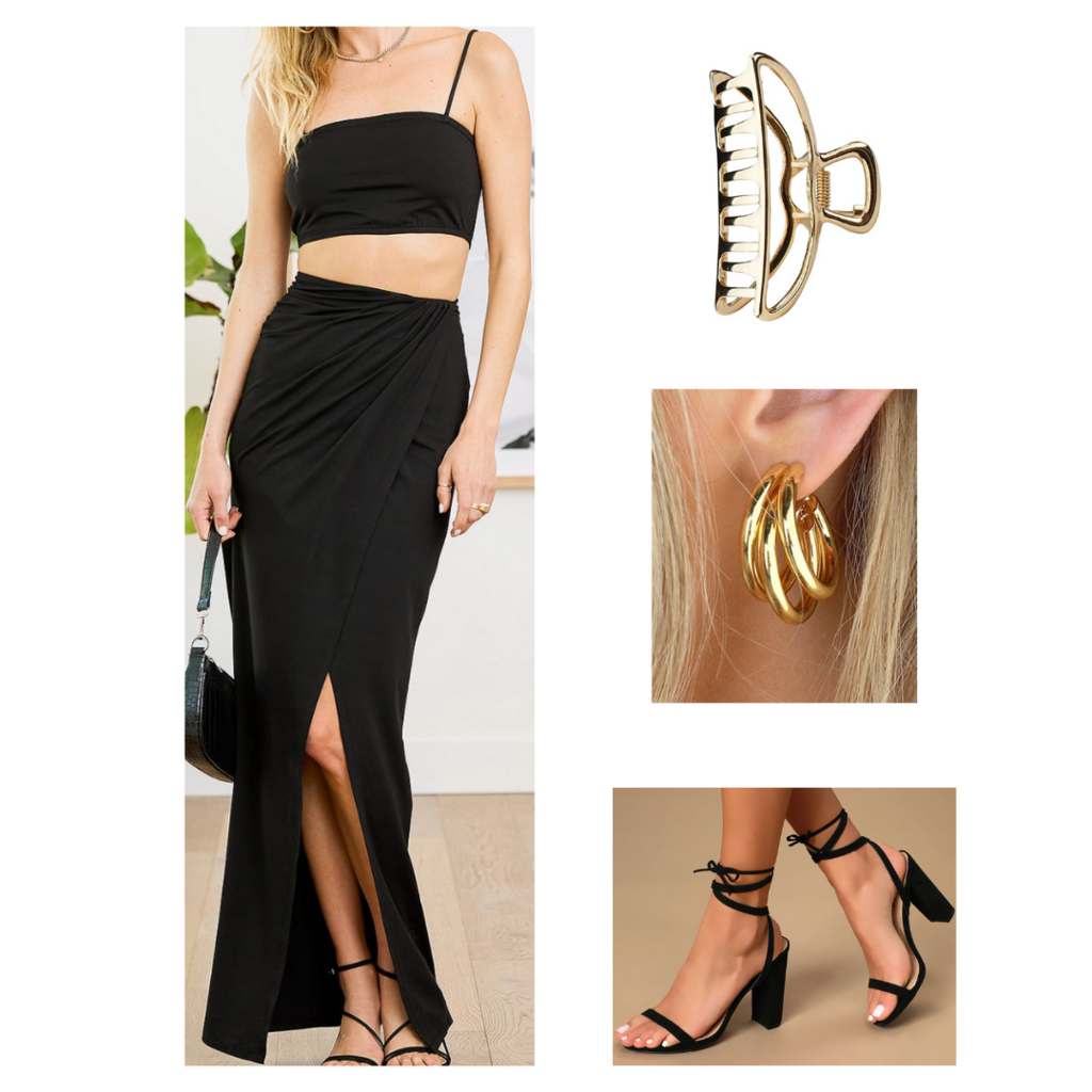 Date night outfit: Two piece set with maxi skirt and crop top, gold hair clip, strappy heels, chunky earrings