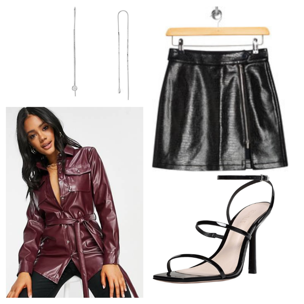 Outfit inspired by Dua Lipa's style with leather shorts, red blazer top, strappy heels, statement earrings