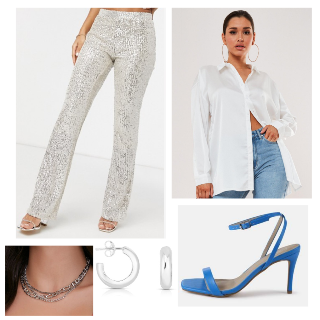Outfit inspired by Dua Lipa's style with sequin pants, oversized shirt, layered necklaces, blue strappy heels