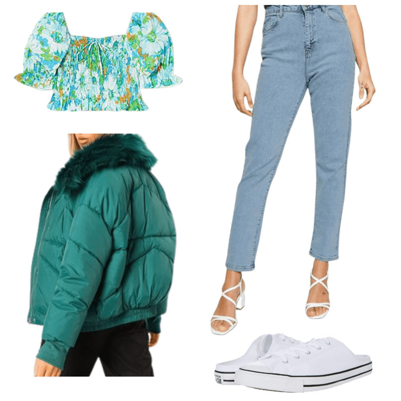 A casual day in Dublin outfit with jacket, jeans, crop top and sneakers.