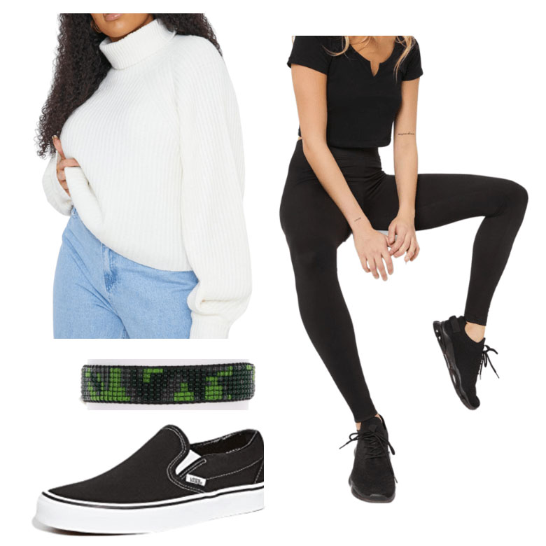 Dublin indoors outfit, with jumper, sneakers, wrist band and joggers.